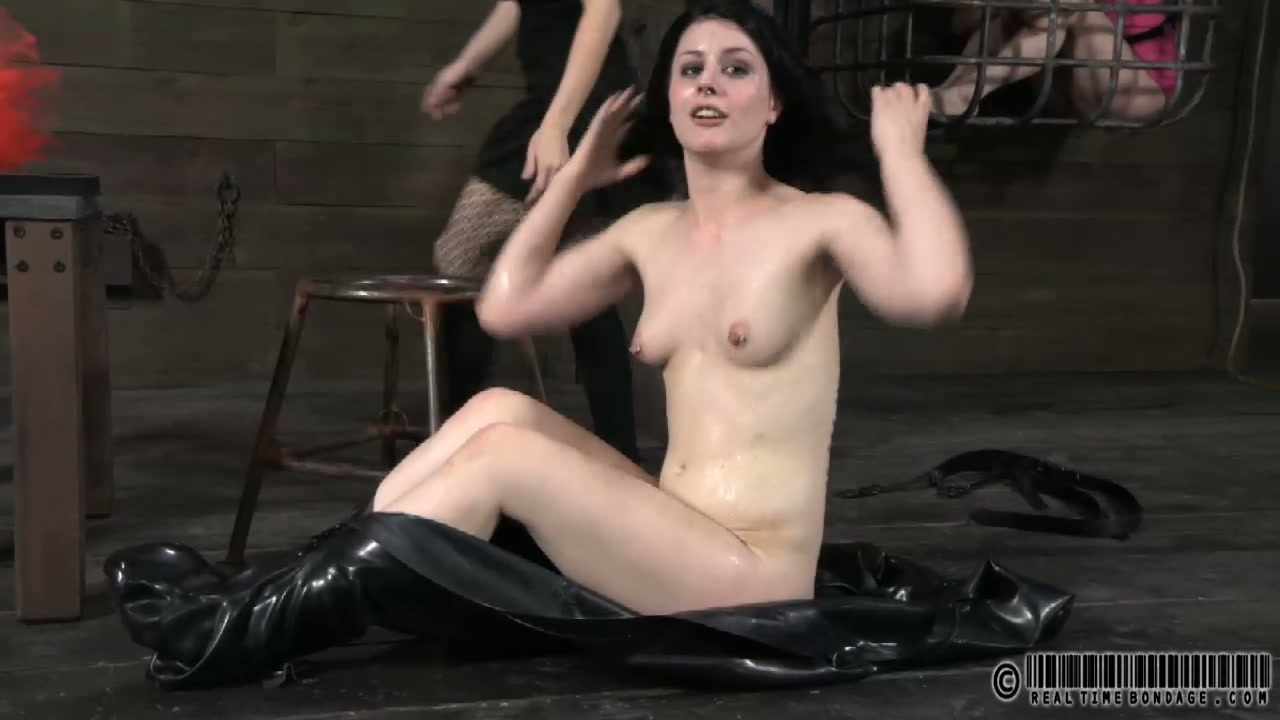 Skanky brunette whore puts make up on after going though BDSM tortures
