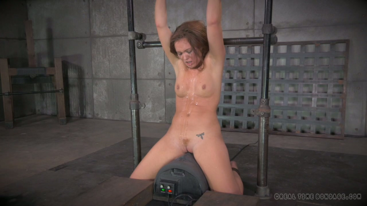 Red haired restrained beauty Maddy OReilly gets mouth fucked by 2 studs hard