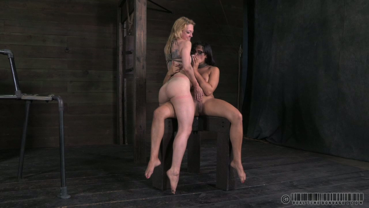 Two bosomy whores split their legs to welcome pussy rubbing in BDSM sex scene