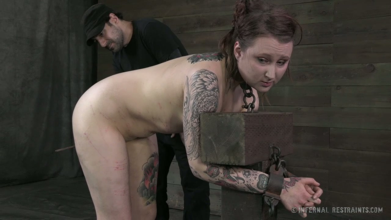 Tattooed chubby chick M.Rose gets her ass spanked hard by cruel master