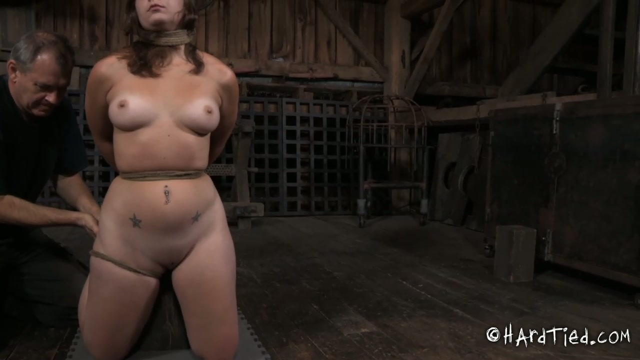 Crummy brunette whore licks and sucks feet of another whore in BDSM sex scene