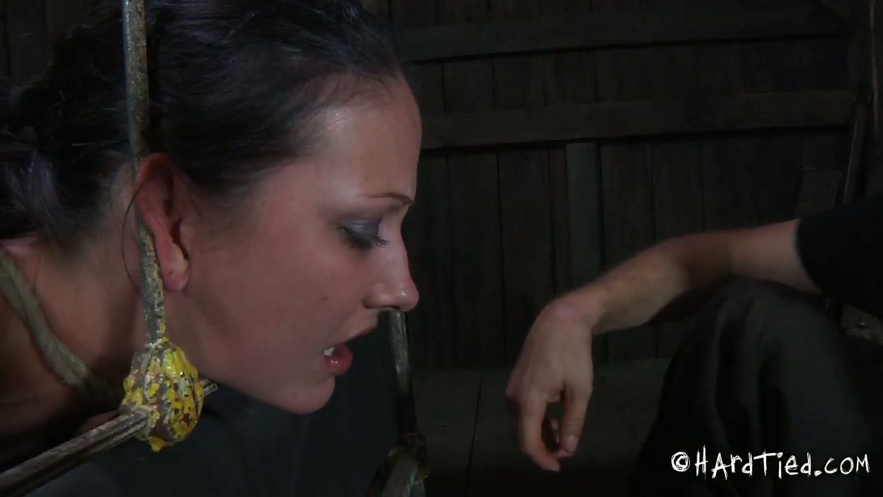 Skanky curvaceous brunette whore welcomes hard dildo fuck in BDSM sex play