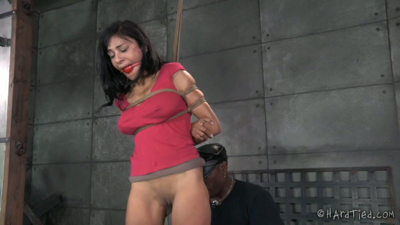 Black BDSM stud tied up sexy white MILF Beretta James tightly