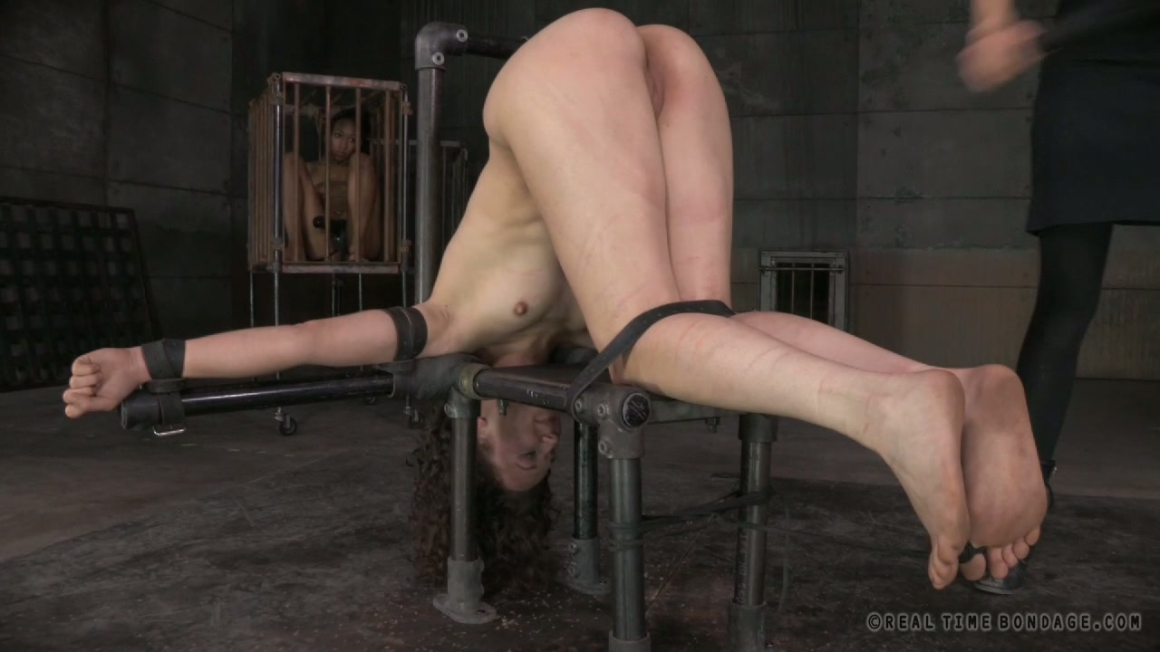 Freaky BDSM masters force submissive Nikki Darling fuck bound Bonnie Day with strapon