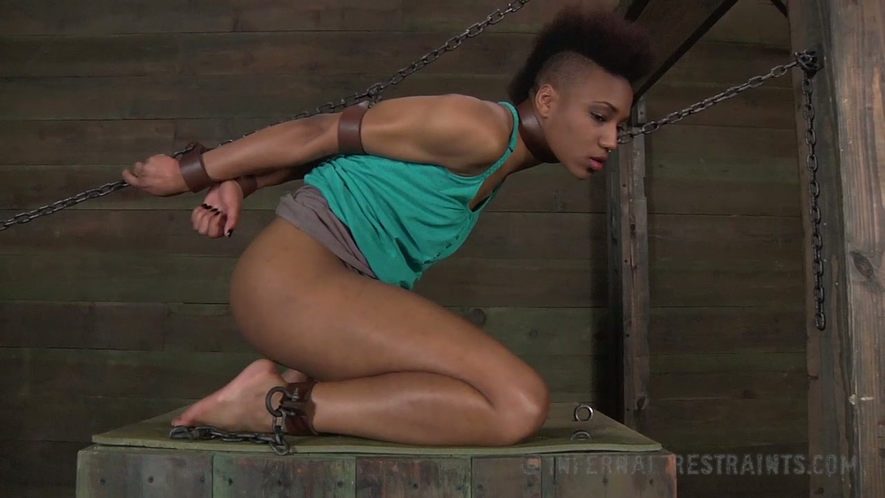 Ebony slave girl bounded and whipped by her kinky master