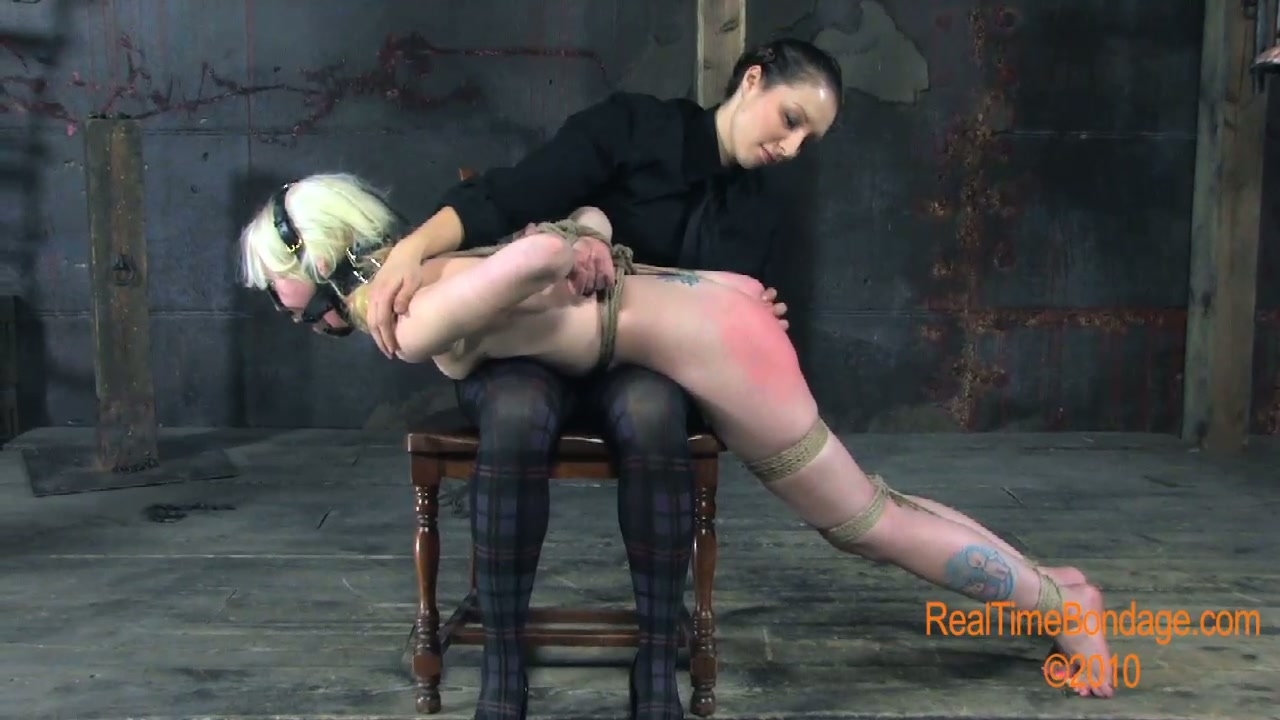 Ample blond mature gets her booty slapped hard in BDSM sex video