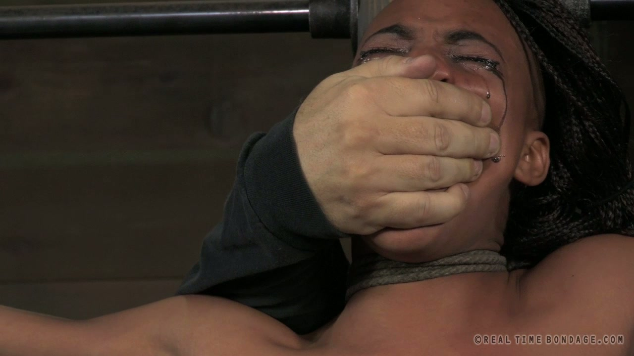 Svelte Ebony whore gets her tits pinned with metal pegs in BDSM sex scene