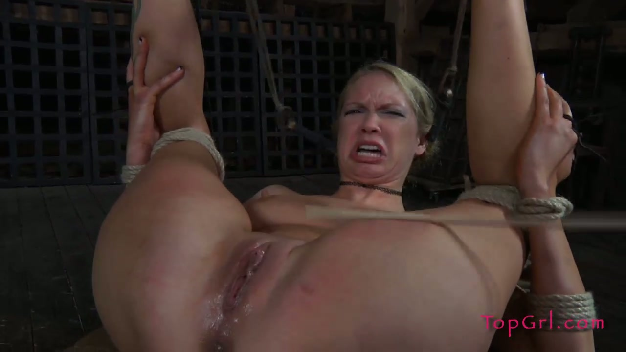 Tattooed blonde Rain hogtied for hot and cruel bdsm play with her mistress
