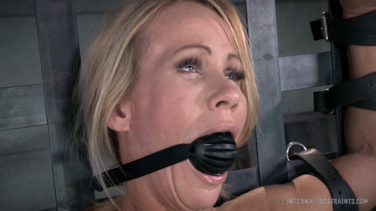 Blonde chick with ball gag in her mouth S.Sonay prepared for bdsm play