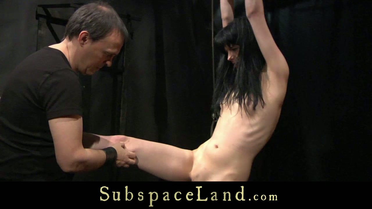 Skinny submissive brunette whore goes through BDSM tortures