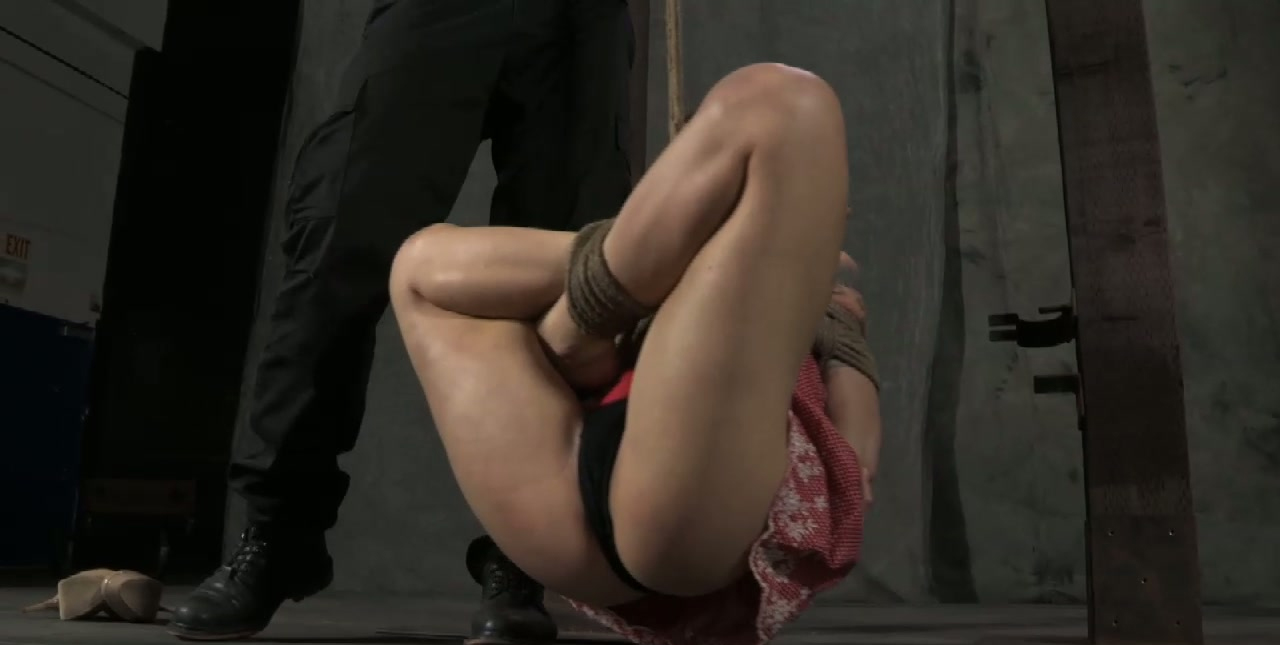 Dirty brunette doxy gets hanged to the ceiling in BDSM sex clip