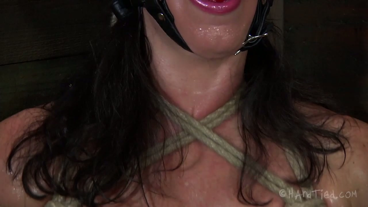 Fugly brunette MILF rides huge dildo with her ruined twat in BDSM sex scene