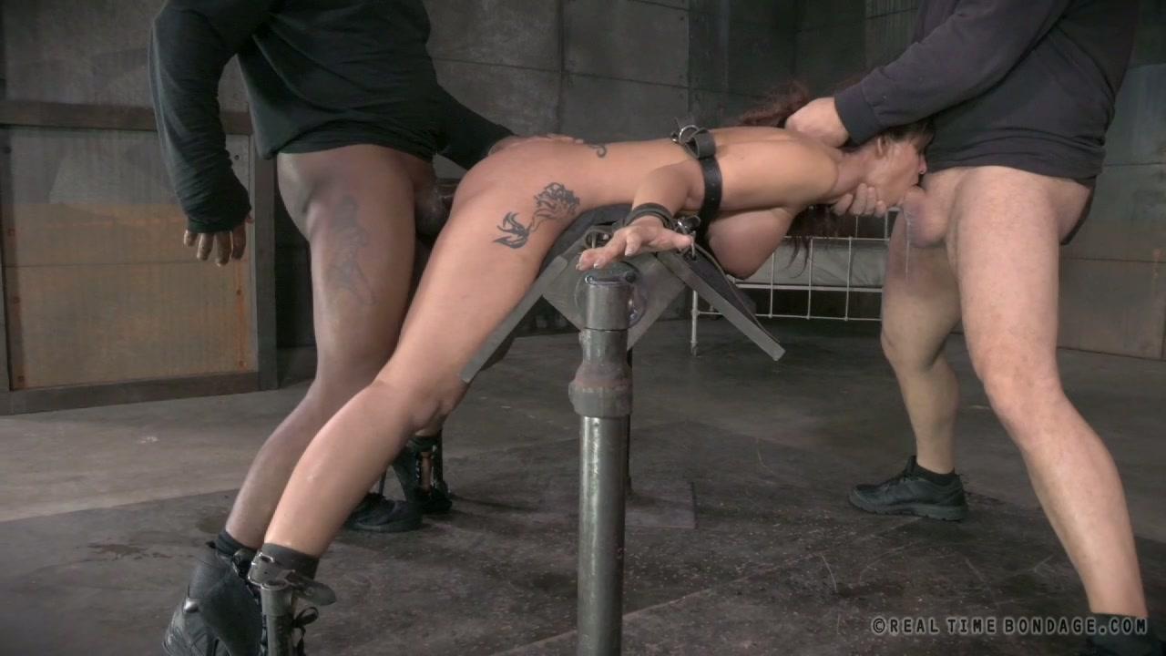 Restrained busty slut Syren De Mer had hard BDSM 3 some with Matt Williams and Jack Hammer