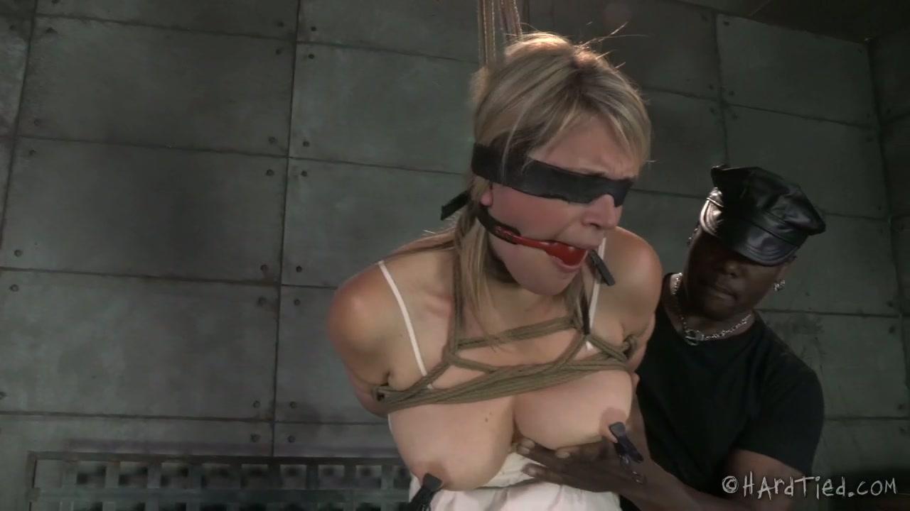 Black BDSM man whips tied up blond cutie Winnie Rider tough