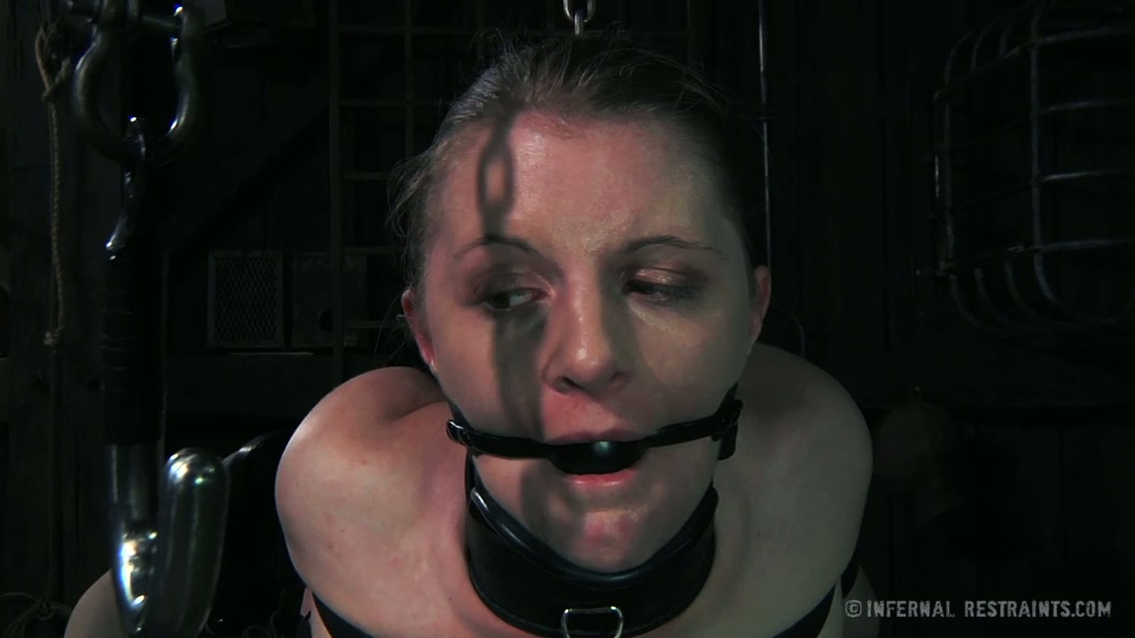 Hogtied blonde chick Mraine gets her holes rammed with weird sex toys