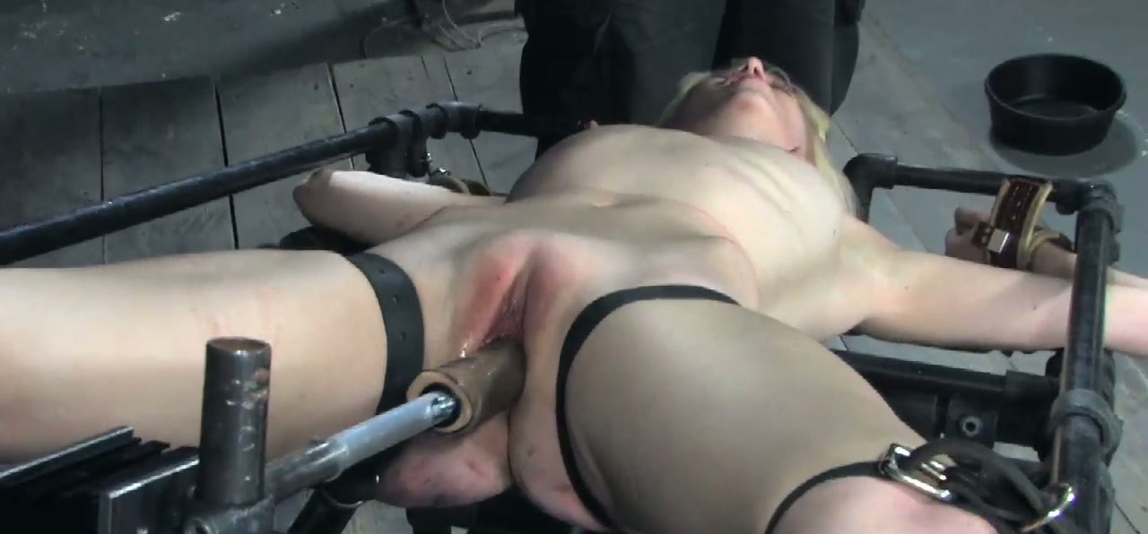 Shabby looking blond MILF gets hanged upside down fully naked in BDSM sex clip