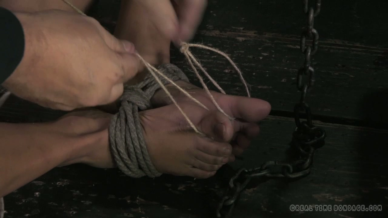 Two skinny whores get their nippled squeezed with metal pins in BDSM sex scene