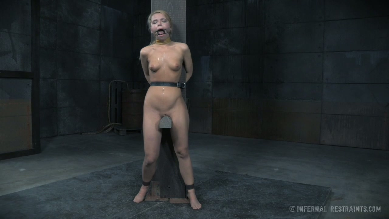 Slutty fair haired bitch Alina West is bound to post and feels pain having hard BDSM sex