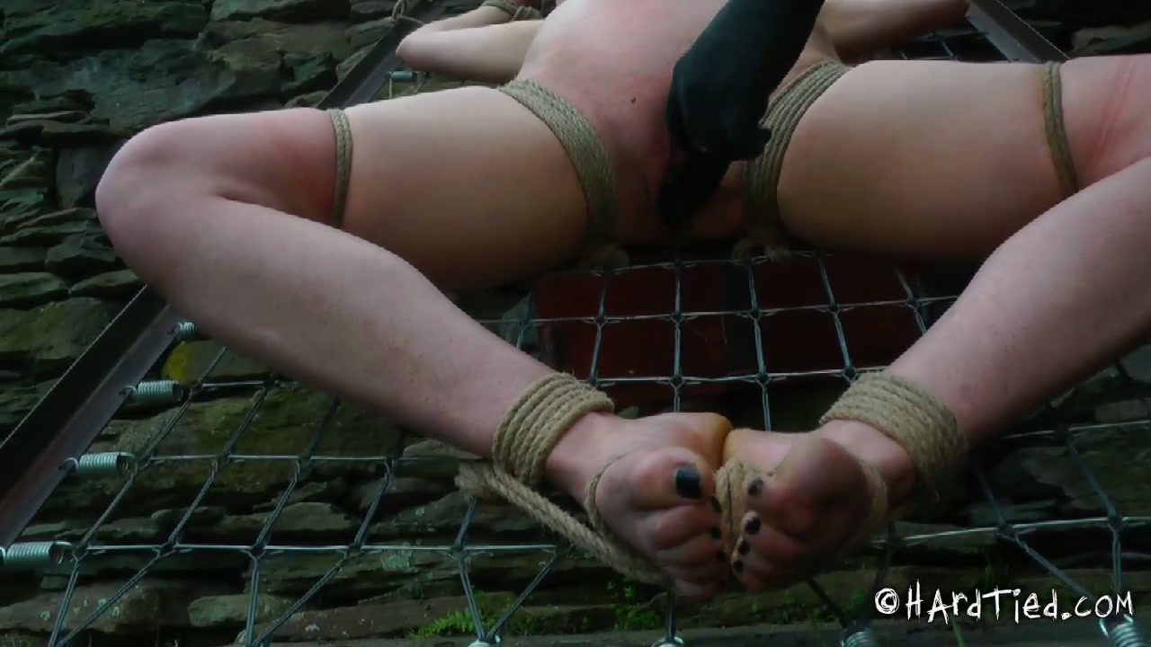Ruined brunette chick gets her body prayed with mud in BDSM sex scene